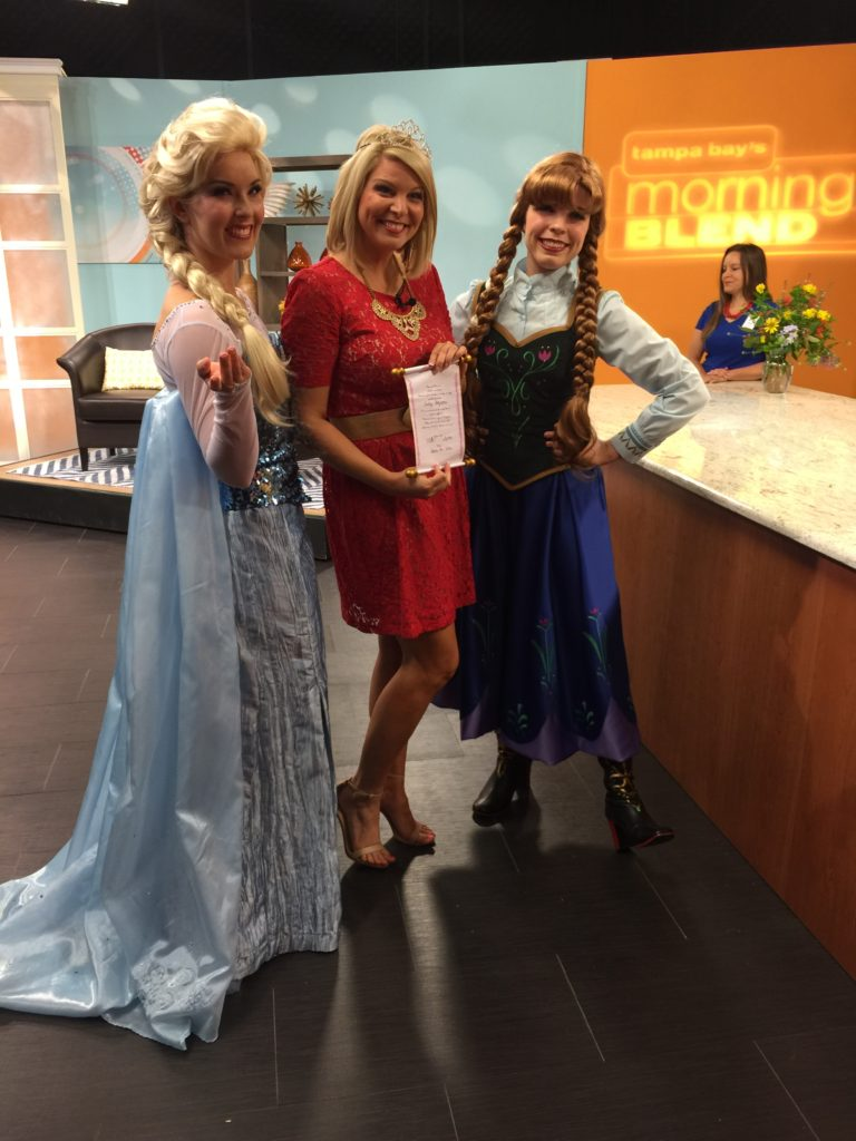 Parties with Character crowns Carley Boyette with Tampa Bay's Morning Blend